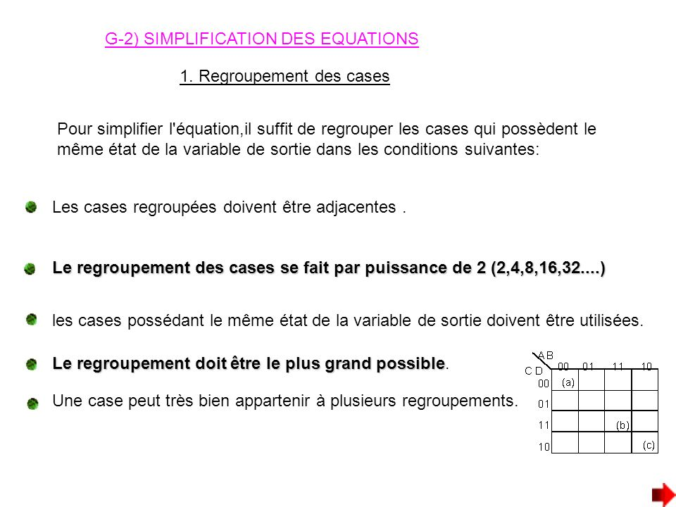 G-2) SIMPLIFICATION DES EQUATIONS