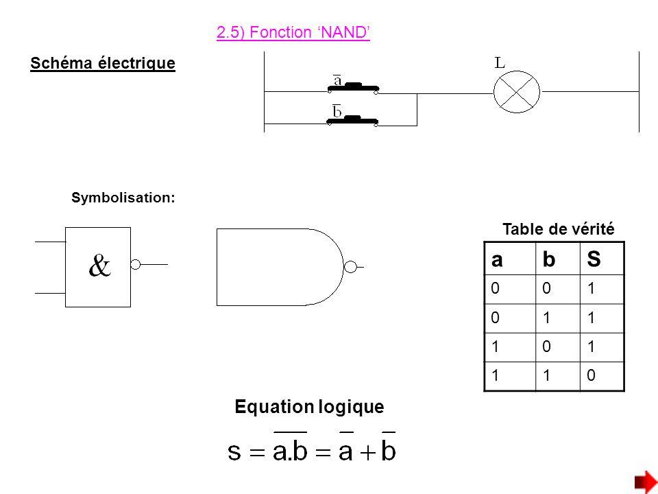 a b S Equation logique 2.5) Fonction 'NAND' Schéma électrique 1