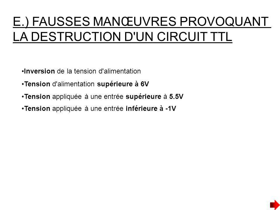 E.) FAUSSES MANŒUVRES PROVOQUANT LA DESTRUCTION D UN CIRCUIT TTL