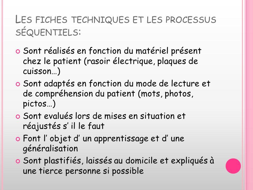 Les fiches techniques et les processus séquentiels: