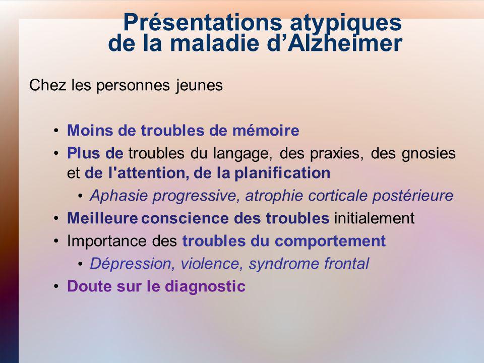 Présentations atypiques de la maladie d'Alzheimer