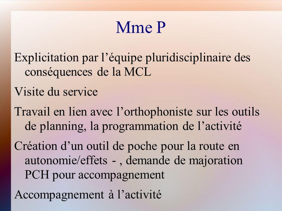 Mme P Explicitation par l'équipe pluridisciplinaire des conséquences de la MCL. Visite du service.