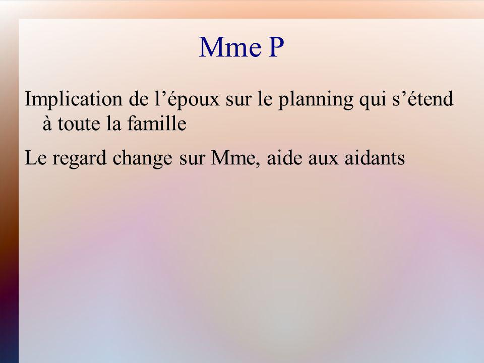 Mme P Implication de l'époux sur le planning qui s'étend à toute la famille.