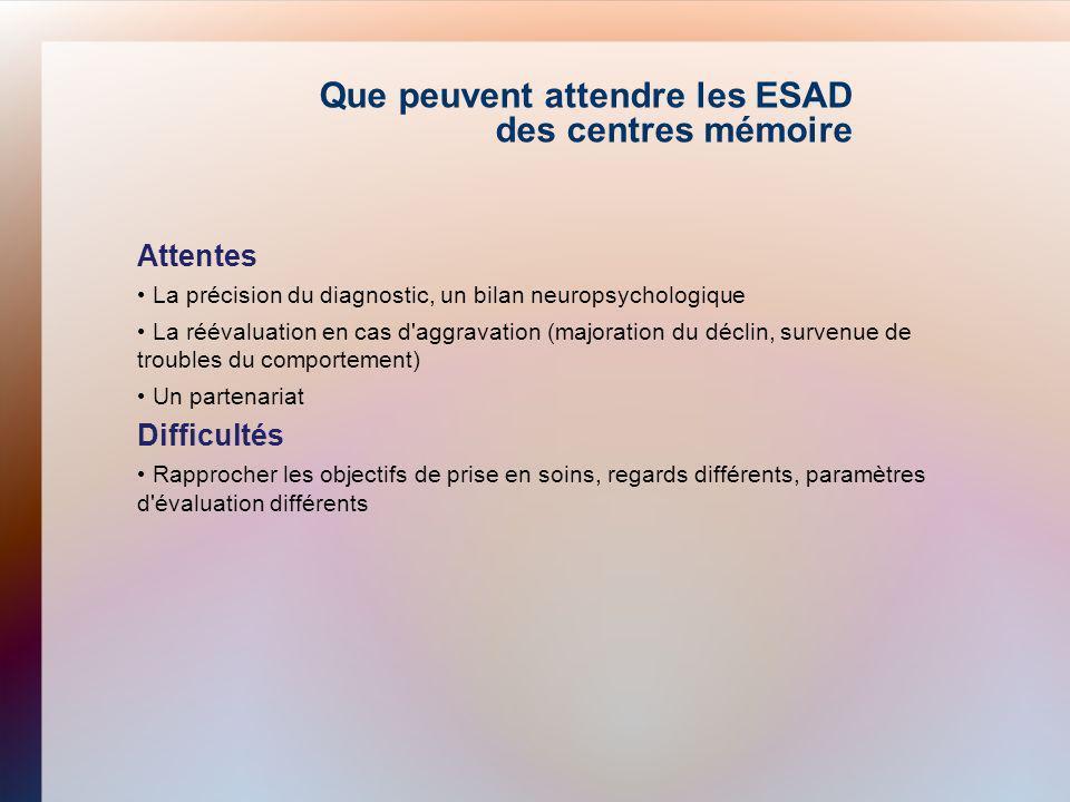 Que peuvent attendre les ESAD des centres mémoire
