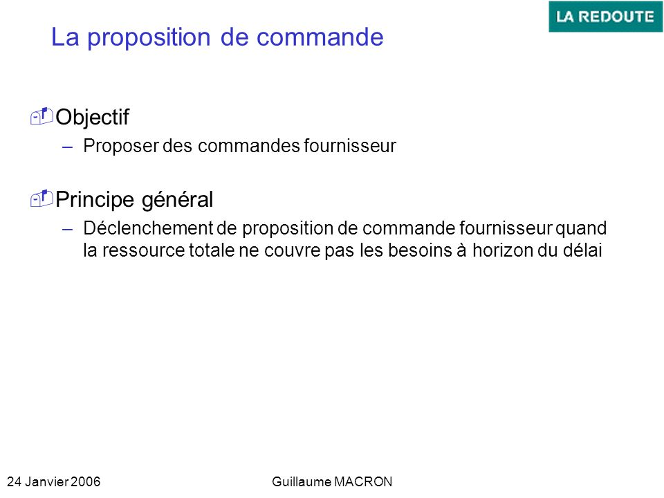 La proposition de commande