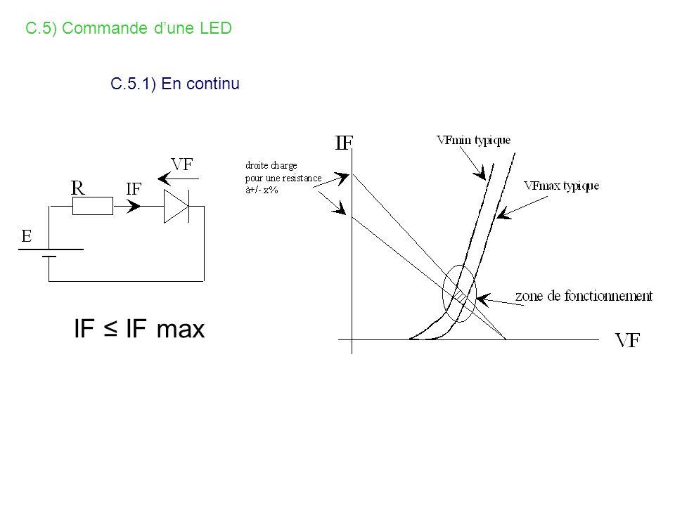 C.5) Commande d'une LED C.5.1) En continu IF ≤ IF max