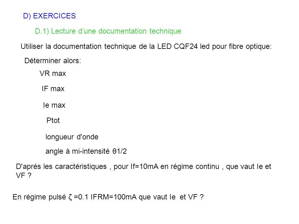 D) EXERCICES D.1) Lecture d'une documentation technique. Utiliser la documentation technique de la LED CQF24 led pour fibre optique: