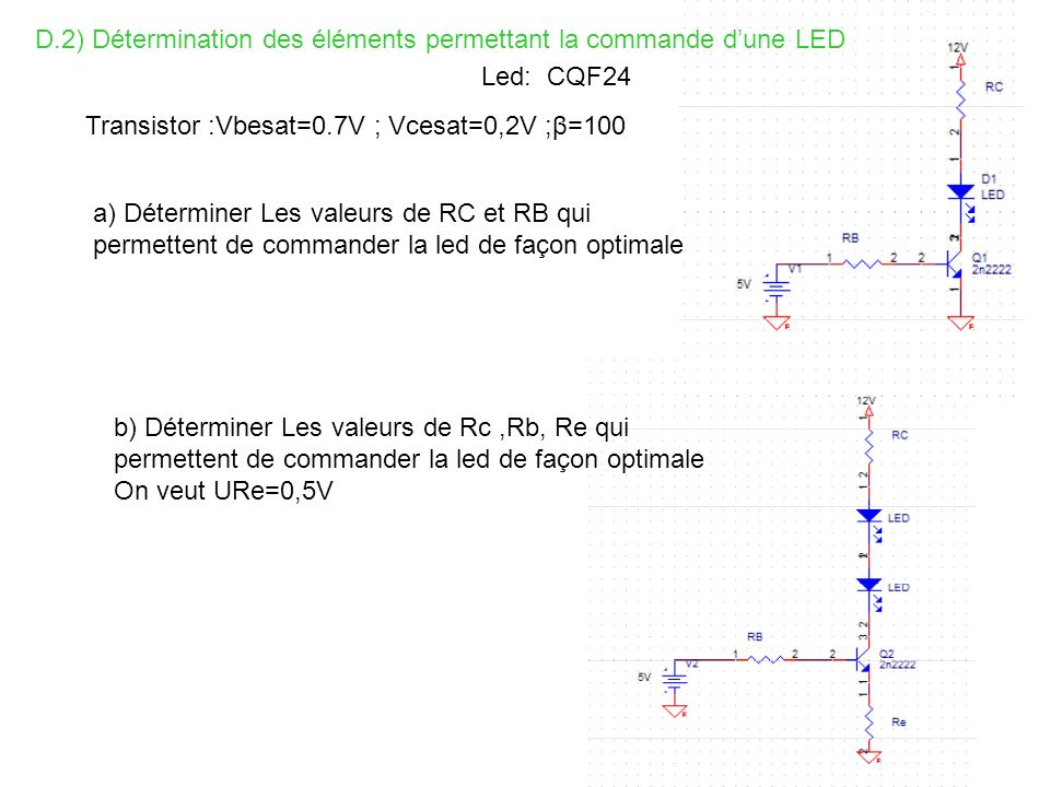 D.2) Détermination des éléments permettant la commande d'une LED
