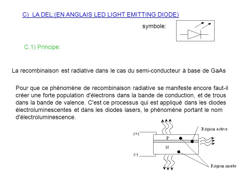 C) LA DEL:(EN ANGLAIS LED LIGHT EMITTING DIODE)