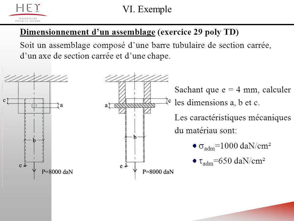 VI. Exemple Dimensionnement d'un assemblage (exercice 29 poly TD)