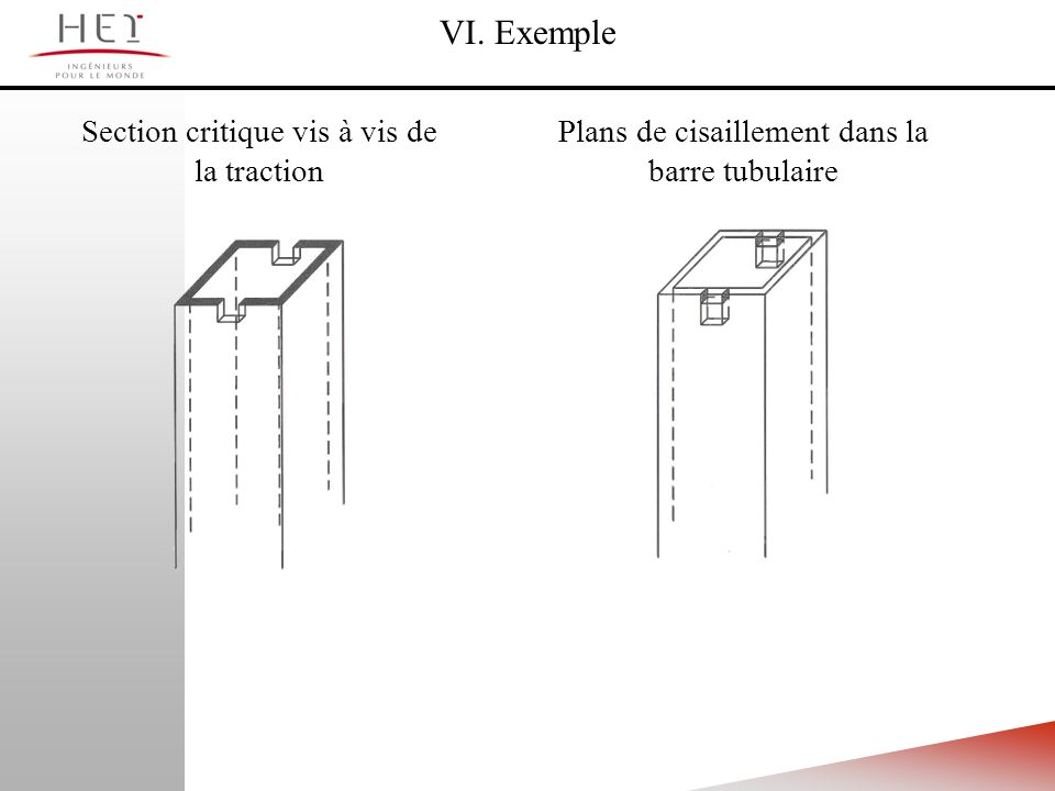 VI. Exemple Section critique vis à vis de la traction