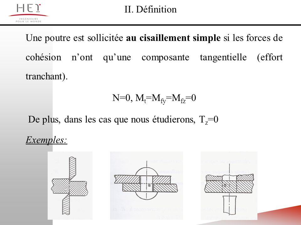 II. DéfinitionUne poutre est sollicitée au cisaillement simple si les forces de cohésion n'ont qu'une composante tangentielle (effort tranchant).