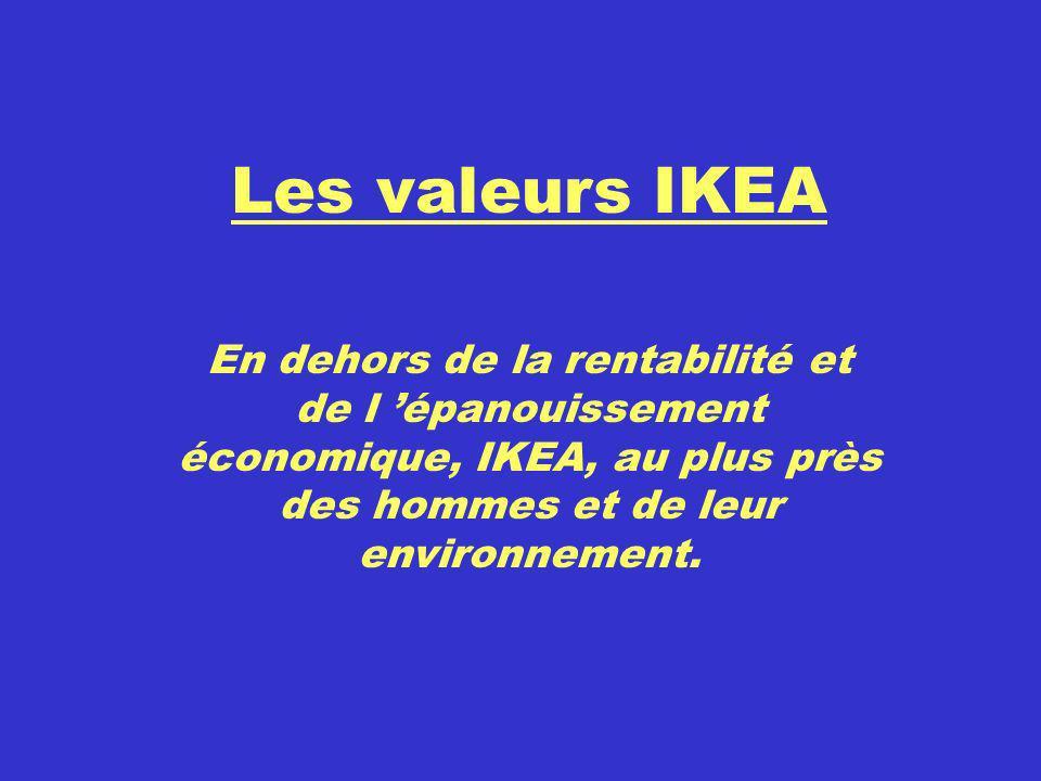 Les valeurs IKEA En dehors de la rentabilité et de l 'épanouissement économique, IKEA, au plus près des hommes et de leur environnement.