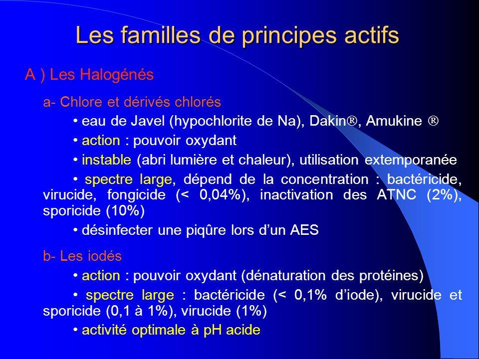 Les familles de principes actifs