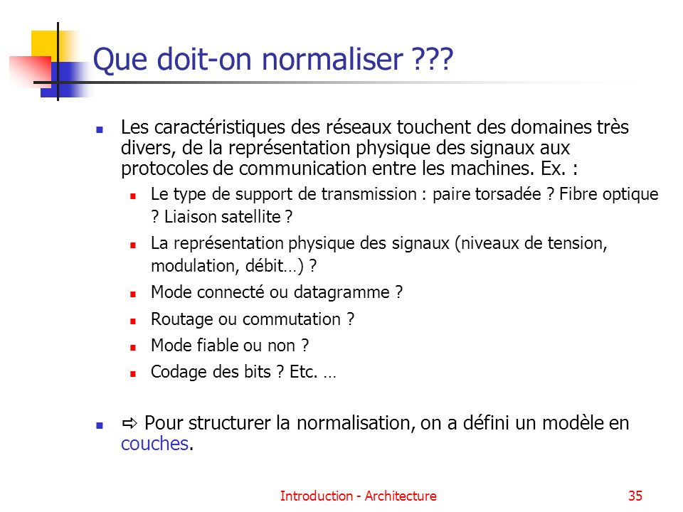 Que doit-on normaliser