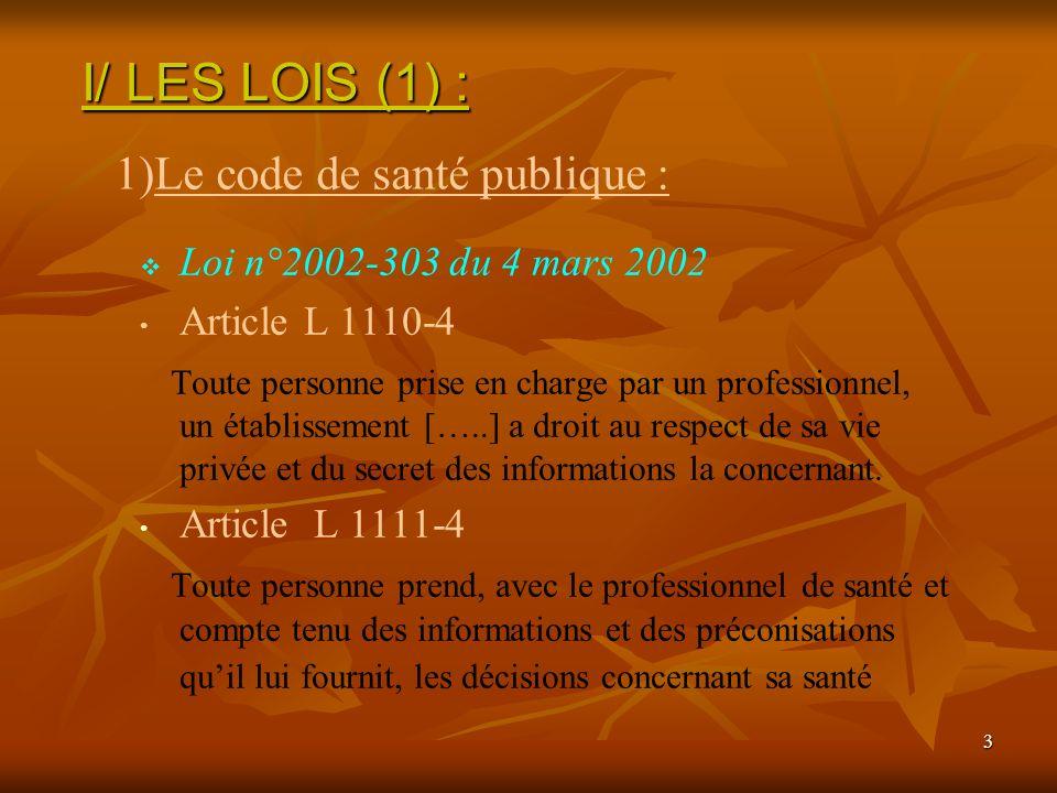 I/ LES LOIS (1) : Le code de santé publique :