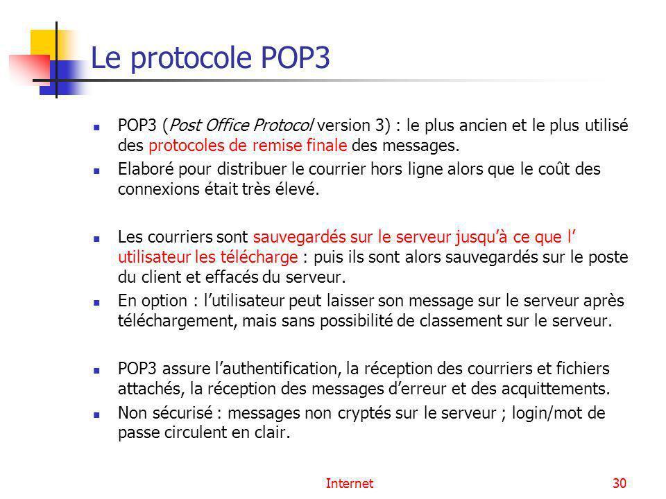Le protocole POP3 POP3 (Post Office Protocol version 3) : le plus ancien et le plus utilisé des protocoles de remise finale des messages.