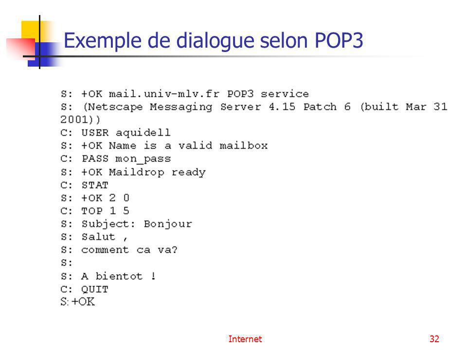 Exemple de dialogue selon POP3