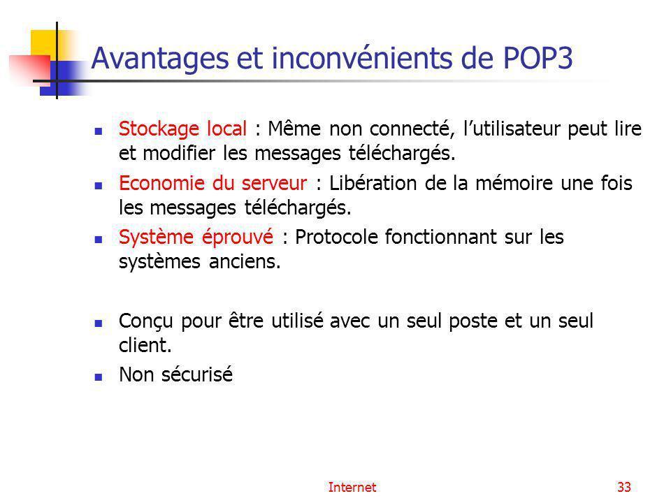Avantages et inconvénients de POP3