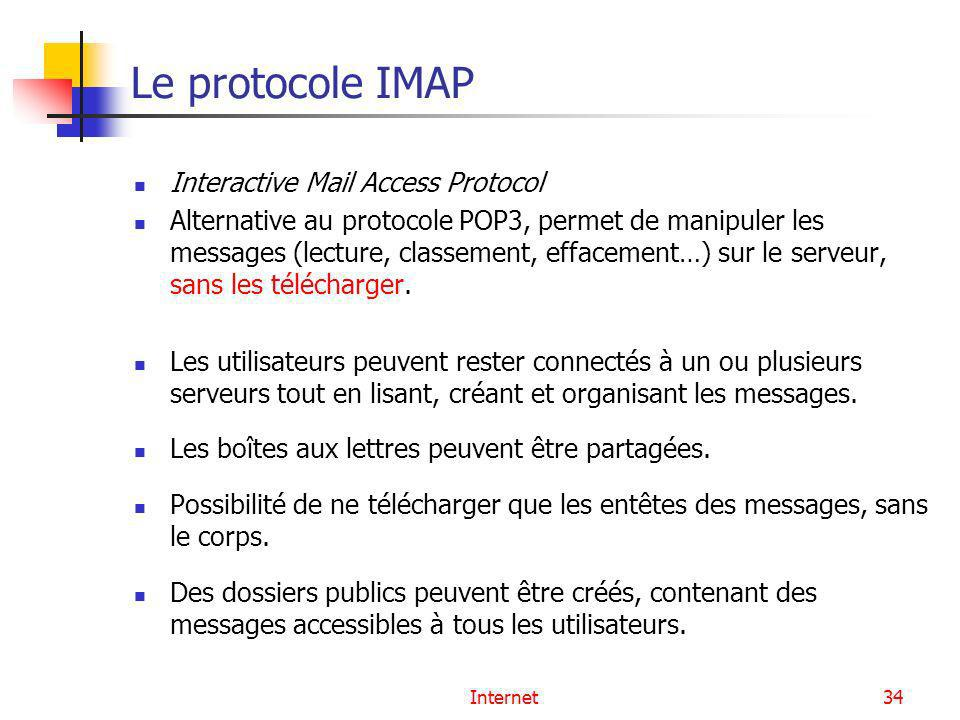 Le protocole IMAP Interactive Mail Access Protocol