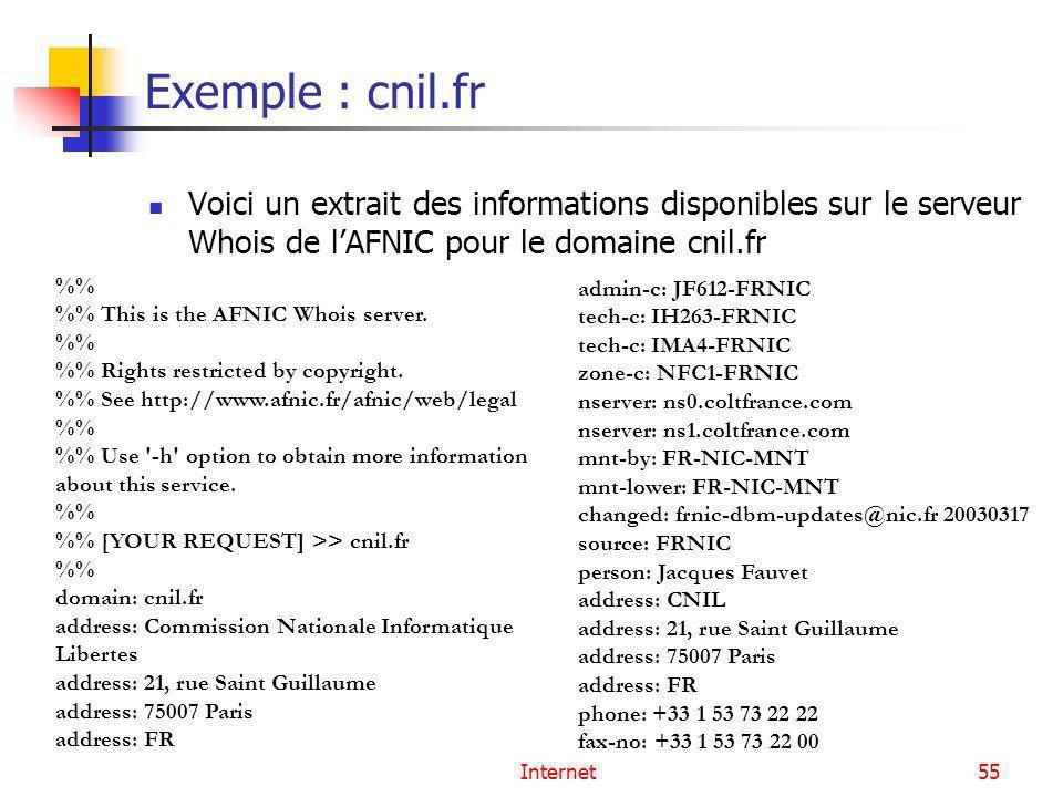 Exemple : cnil.fr Voici un extrait des informations disponibles sur le serveur Whois de l'AFNIC pour le domaine cnil.fr.