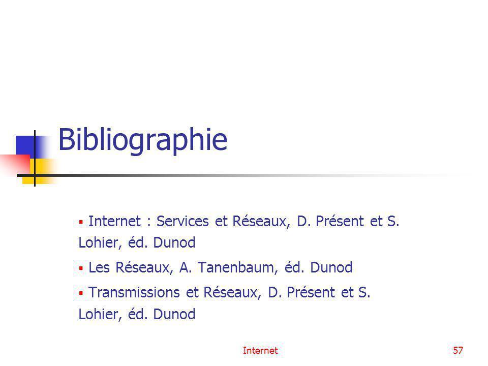 Bibliographie Internet : Services et Réseaux, D. Présent et S. Lohier, éd. Dunod. Les Réseaux, A. Tanenbaum, éd. Dunod.