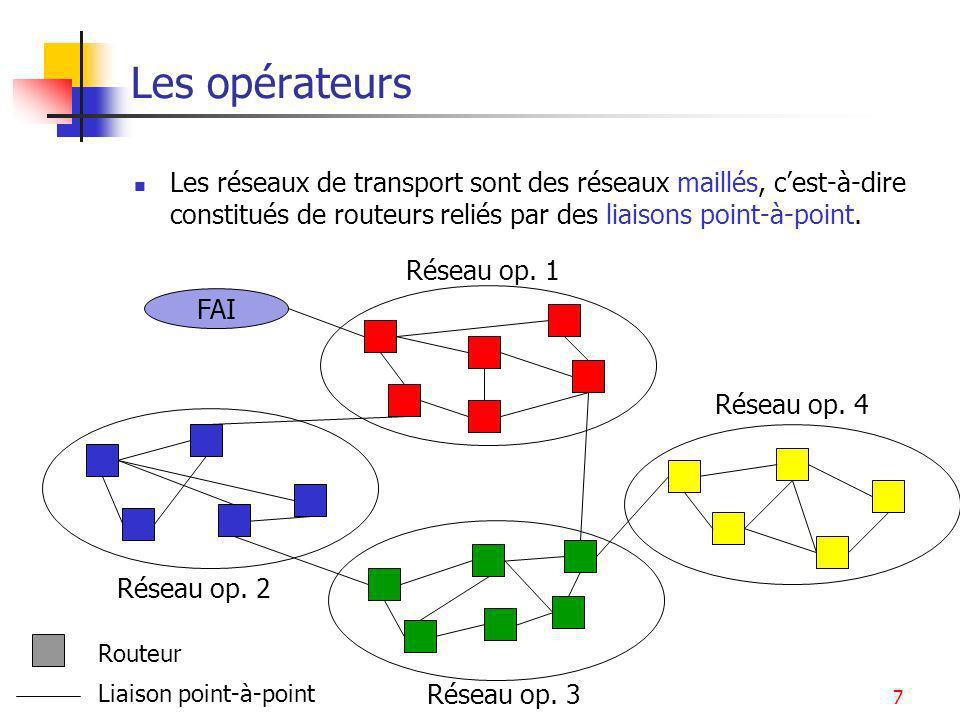 Les opérateurs Les réseaux de transport sont des réseaux maillés, c'est-à-dire constitués de routeurs reliés par des liaisons point-à-point.