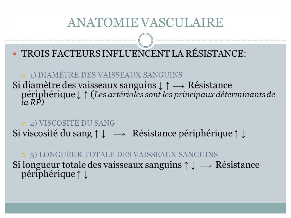 ANATOMIE VASCULAIRE TROIS FACTEURS INFLUENCENT LA RÉSISTANCE: