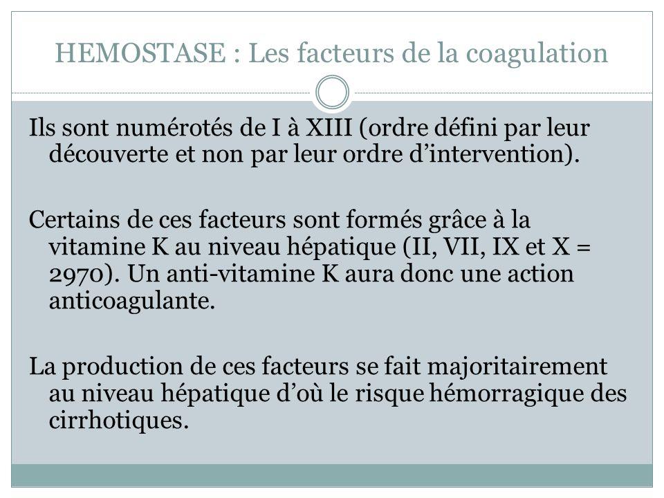HEMOSTASE : Les facteurs de la coagulation