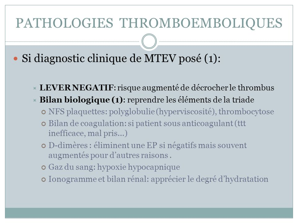 PATHOLOGIES THROMBOEMBOLIQUES
