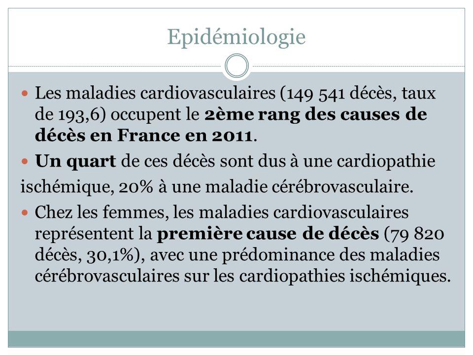 Epidémiologie Les maladies cardiovasculaires (149 541 décès, taux de 193,6) occupent le 2ème rang des causes de décès en France en 2011.