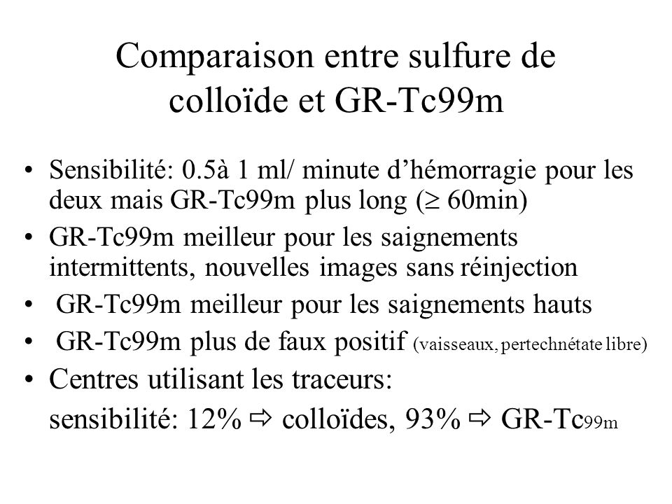 Comparaison entre sulfure de colloïde et GR-Tc99m