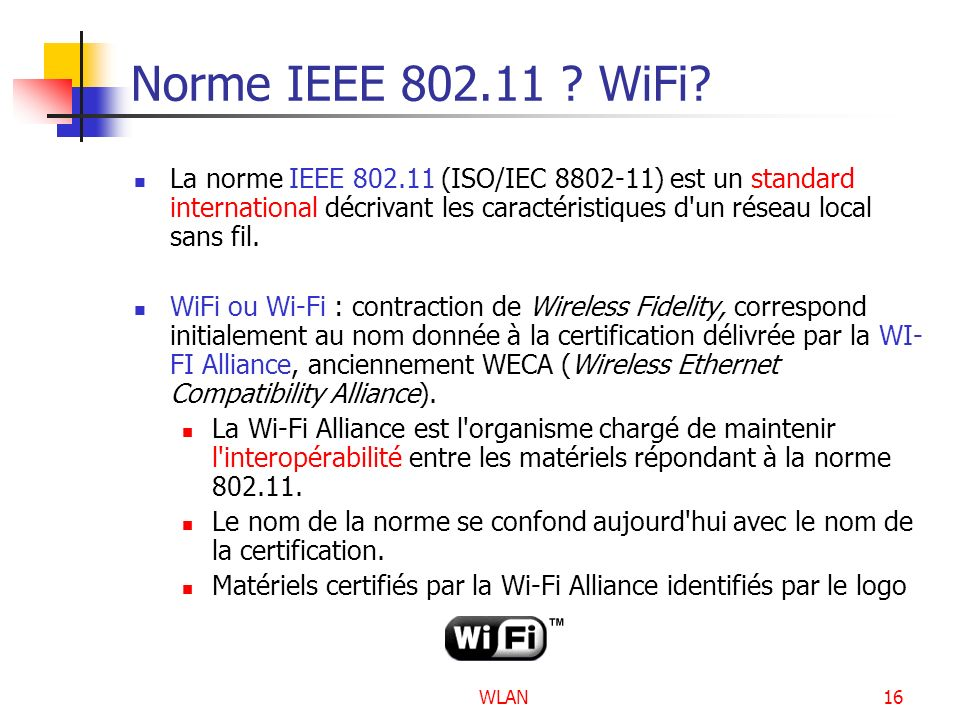 Norme IEEE 802.11 WiFi