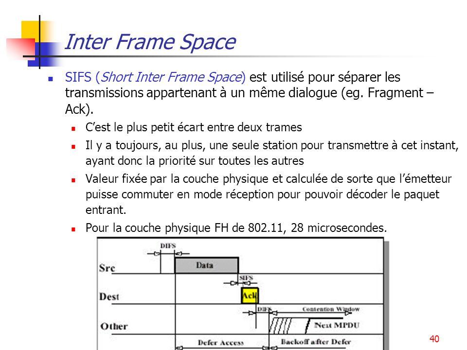 Inter Frame Space SIFS (Short Inter Frame Space) est utilisé pour séparer les transmissions appartenant à un même dialogue (eg. Fragment – Ack).