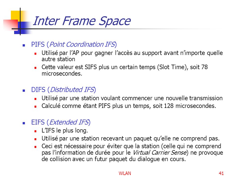 Inter Frame Space PIFS (Point Coordination IFS) DIFS (Distributed IFS)