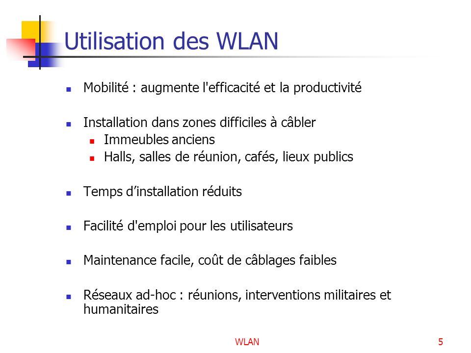 Utilisation des WLAN Mobilité : augmente l efficacité et la productivité. Installation dans zones difficiles à câbler.