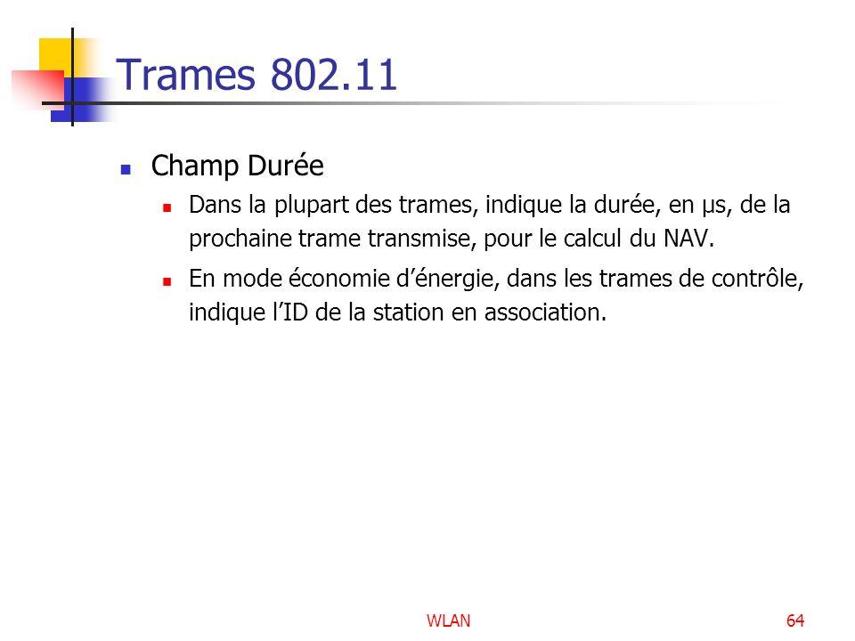 Trames 802.11 Champ Durée. Dans la plupart des trames, indique la durée, en µs, de la prochaine trame transmise, pour le calcul du NAV.