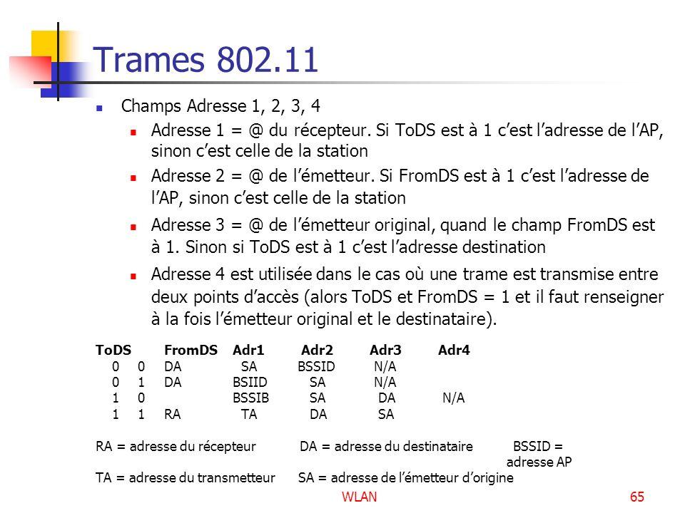 Trames 802.11 Champs Adresse 1, 2, 3, 4. Adresse 1 = @ du récepteur. Si ToDS est à 1 c'est l'adresse de l'AP, sinon c'est celle de la station.