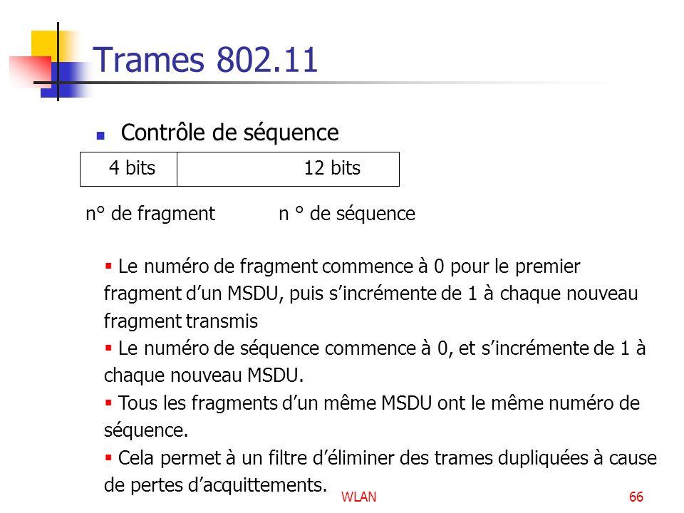 Trames 802.11 Contrôle de séquence 4 bits 12 bits
