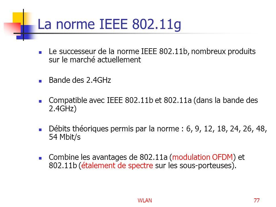 La norme IEEE 802.11g Le successeur de la norme IEEE 802.11b, nombreux produits sur le marché actuellement.