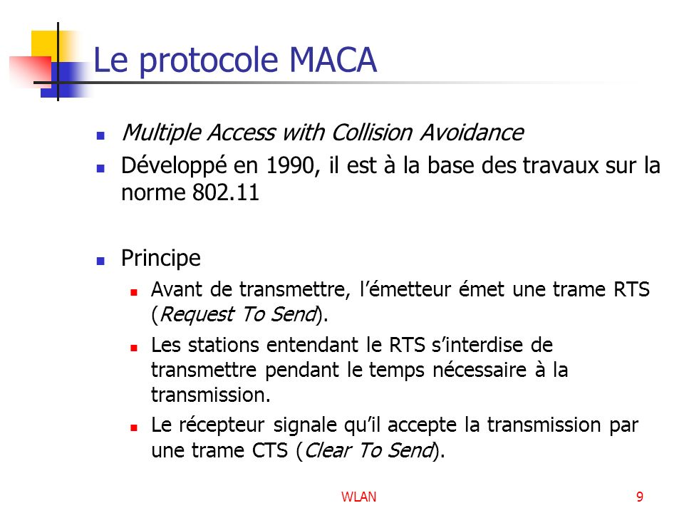 Le protocole MACA Multiple Access with Collision Avoidance