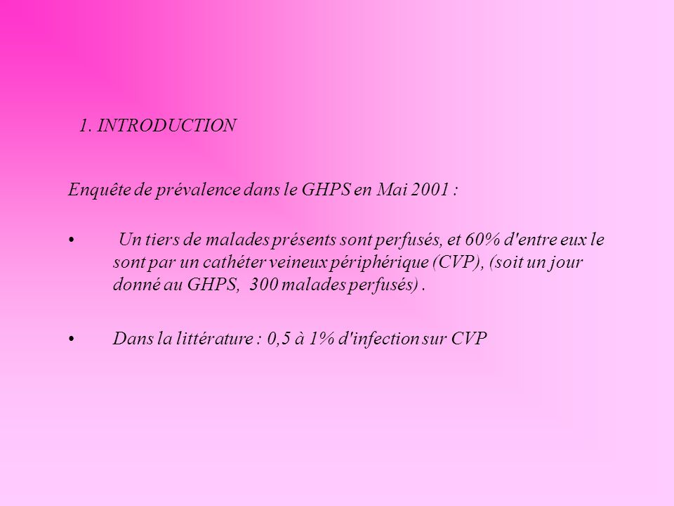 1. INTRODUCTION Enquête de prévalence dans le GHPS en Mai 2001 :