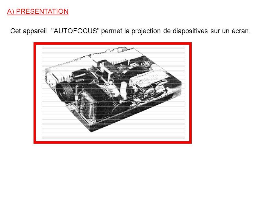 A) PRESENTATION Cet appareil AUTOFOCUS permet la projection de diapositives sur un écran.