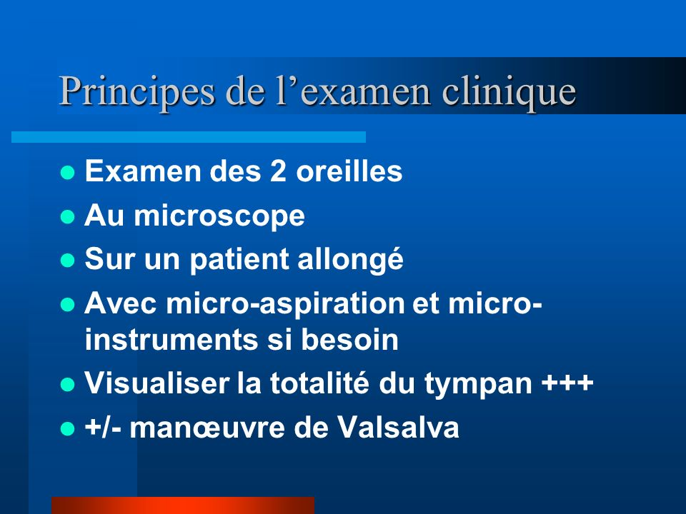 Principes de l'examen clinique