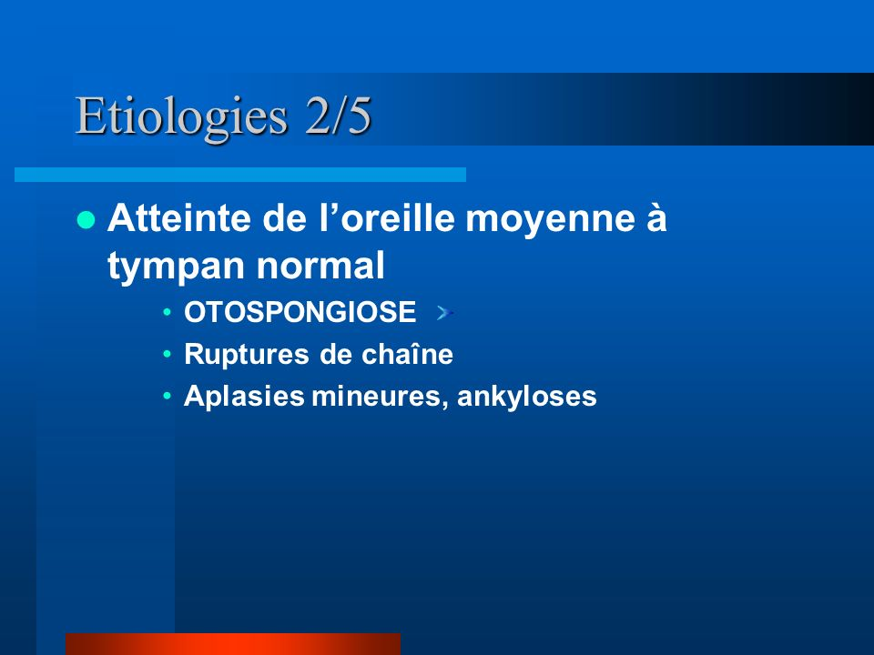 Etiologies 2/5 Atteinte de l'oreille moyenne à tympan normal