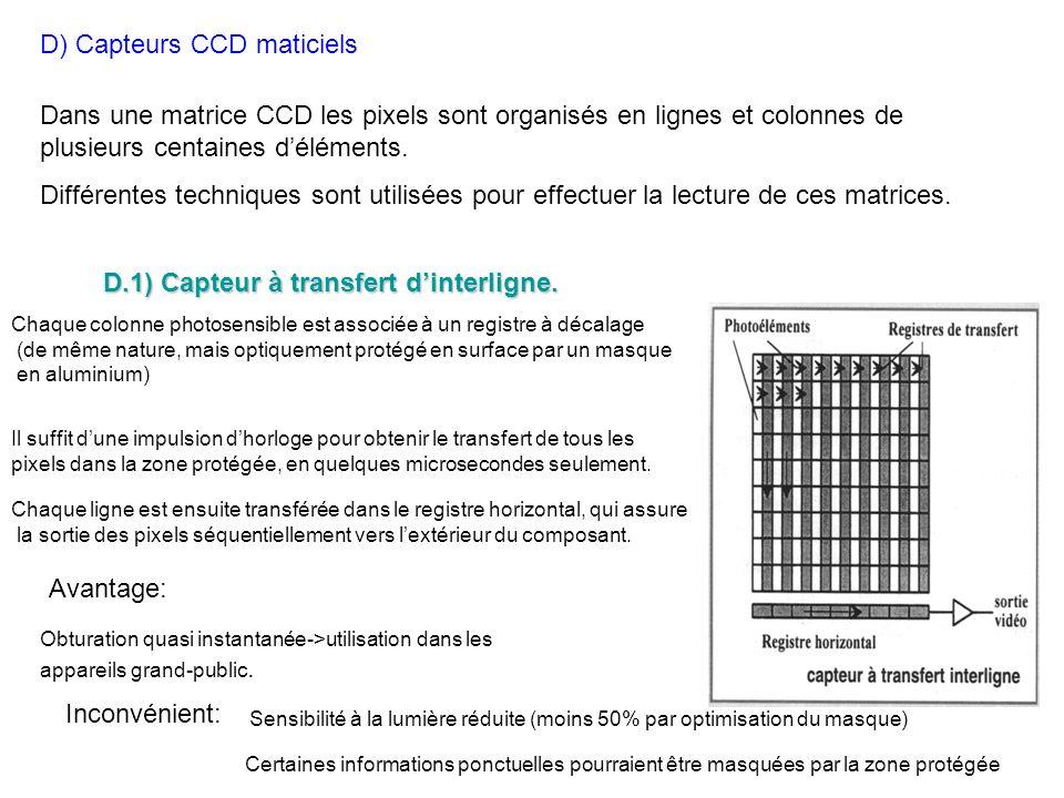 D) Capteurs CCD maticiels