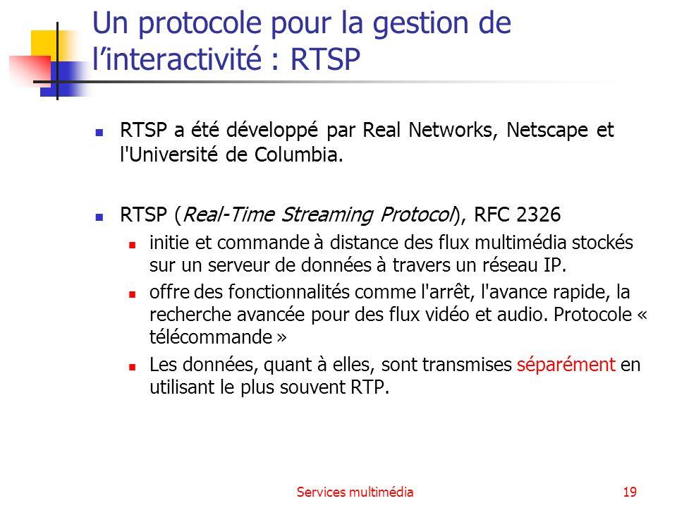 Un protocole pour la gestion de l'interactivité : RTSP