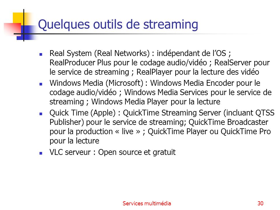 Quelques outils de streaming