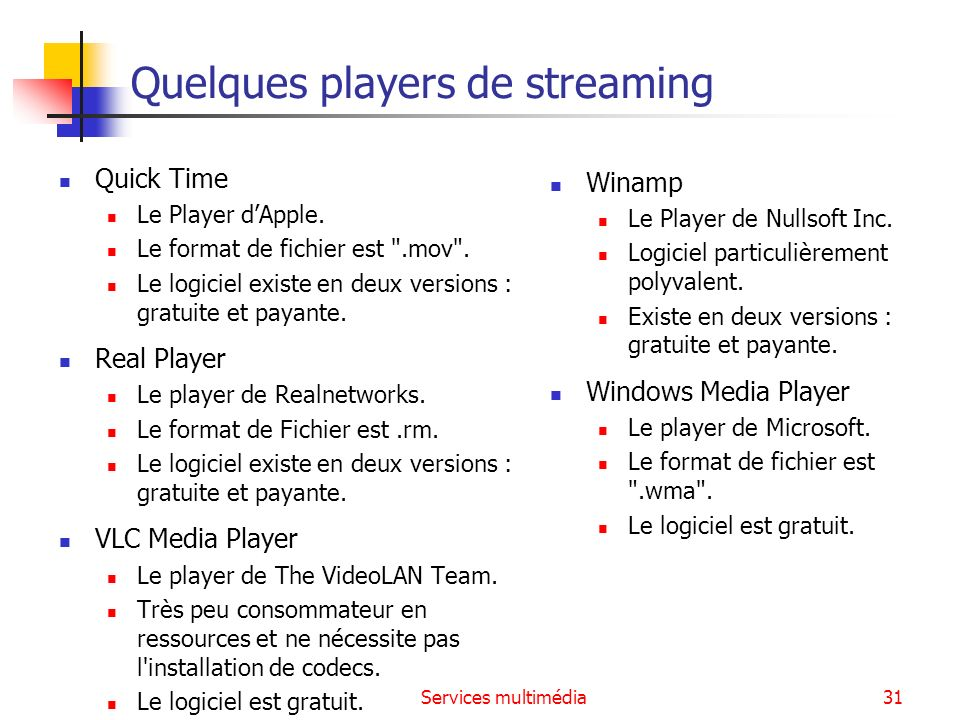Quelques players de streaming