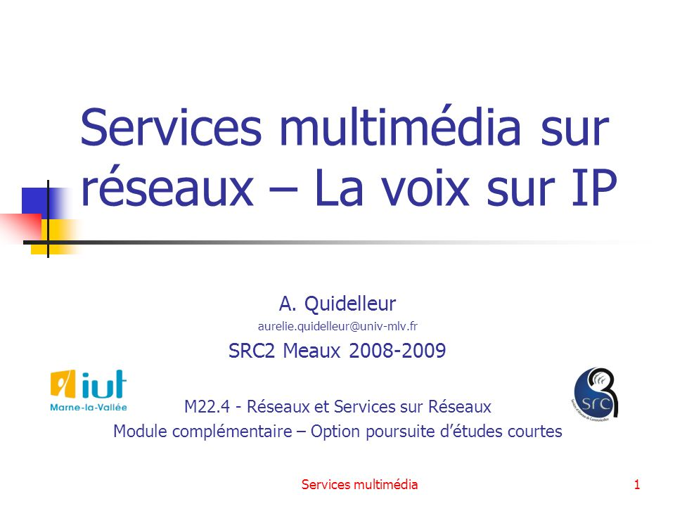 Services multimédia sur réseaux – La voix sur IP